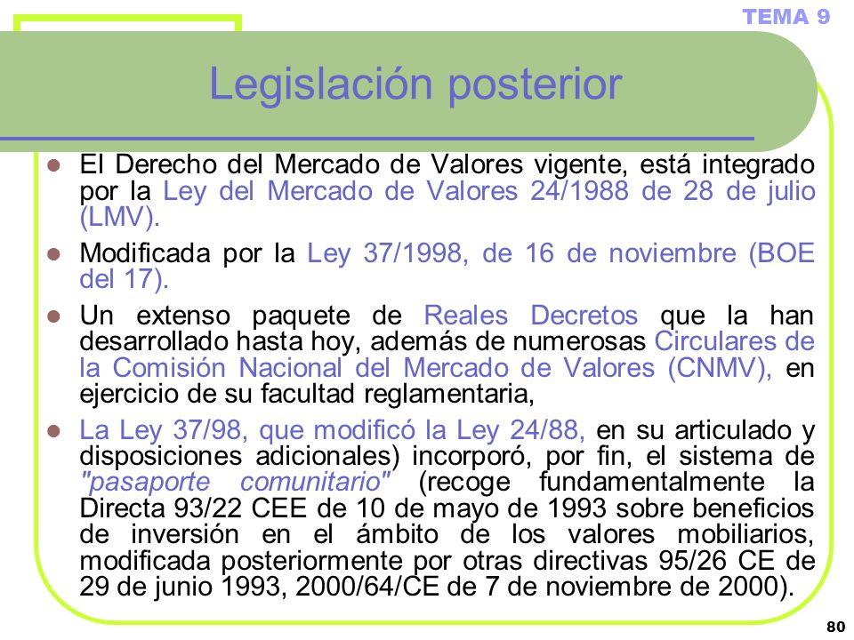 80 Legislación posterior El Derecho del Mercado de Valores vigente, está integrado por la Ley del Mercado de Valores 24/1988 de 28 de julio (LMV). Mod