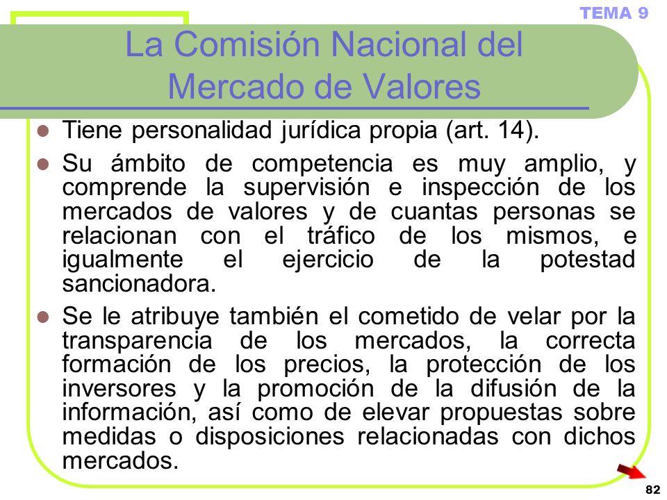 82 La Comisión Nacional del Mercado de Valores Tiene personalidad jurídica propia (art. 14). Su ámbito de competencia es muy amplio, y comprende la su
