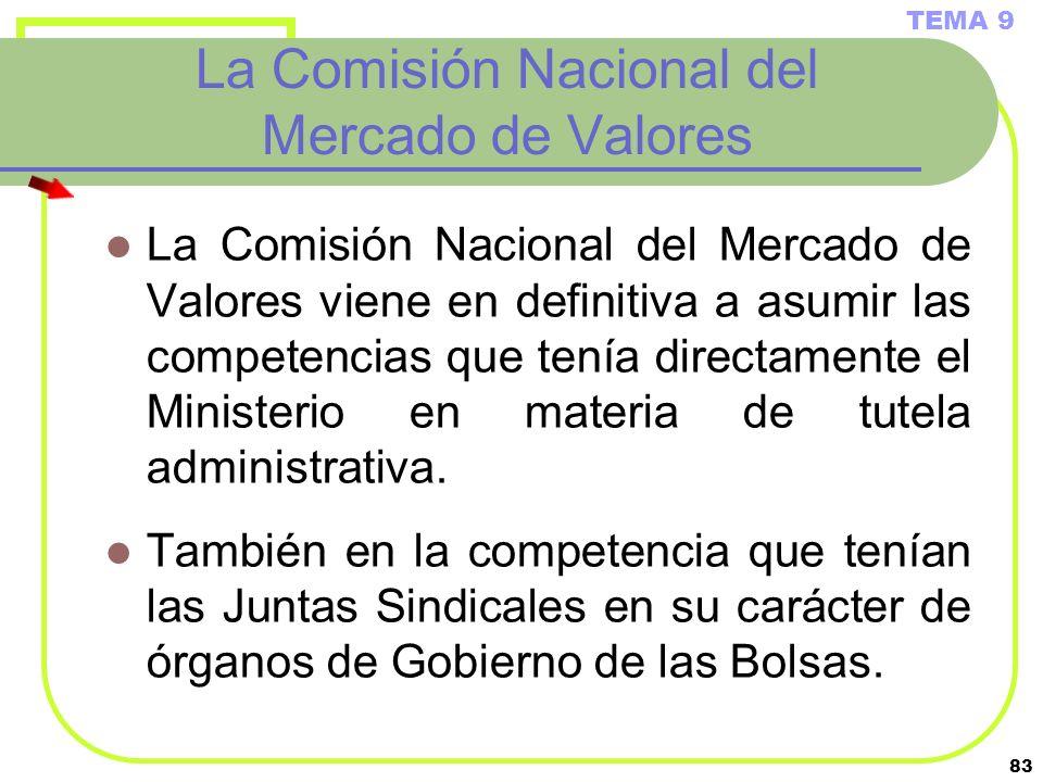83 La Comisión Nacional del Mercado de Valores La Comisión Nacional del Mercado de Valores viene en definitiva a asumir las competencias que tenía dir
