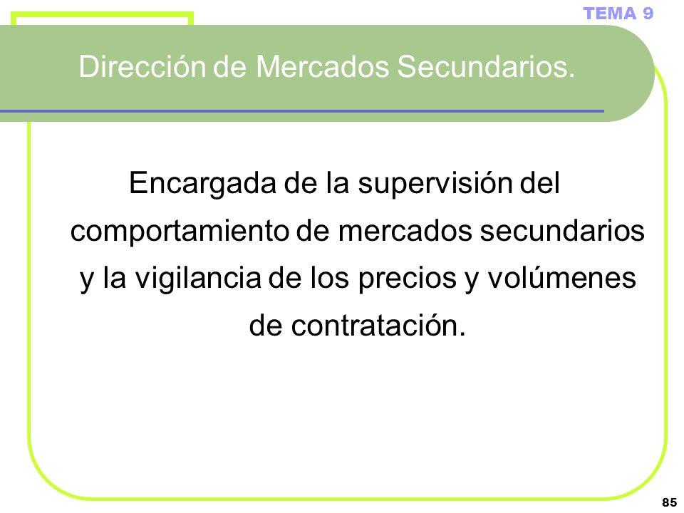 85 Dirección de Mercados Secundarios. TEMA 9 Encargada de la supervisión del comportamiento de mercados secundarios y la vigilancia de los precios y v