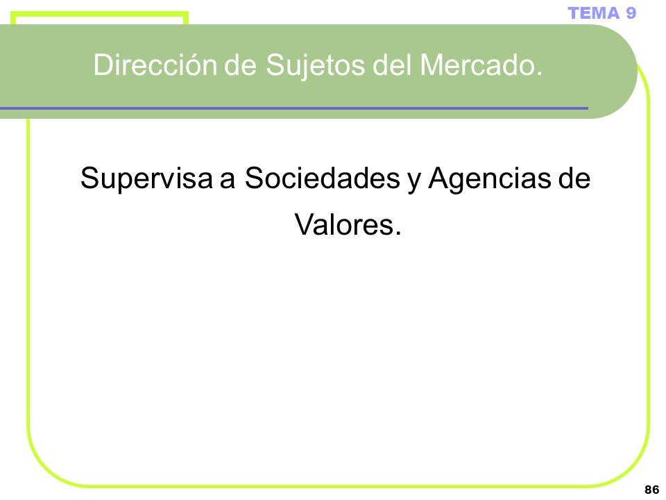 86 Dirección de Sujetos del Mercado. TEMA 9 Supervisa a Sociedades y Agencias de Valores.