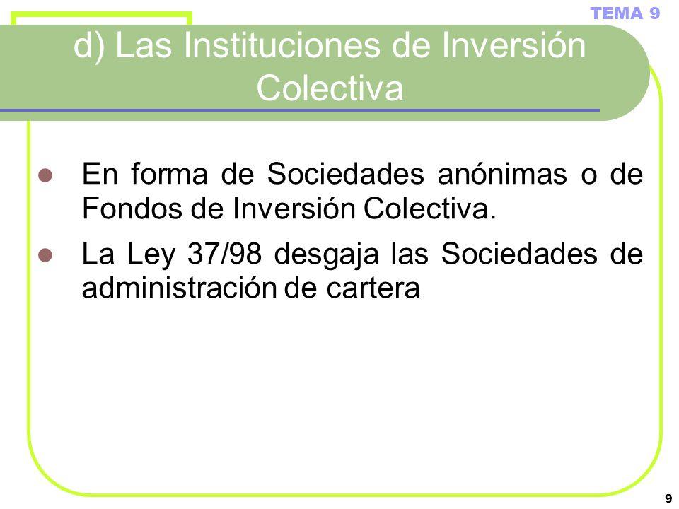 9 d) Las Instituciones de Inversión Colectiva En forma de Sociedades anónimas o de Fondos de Inversión Colectiva. La Ley 37/98 desgaja las Sociedades
