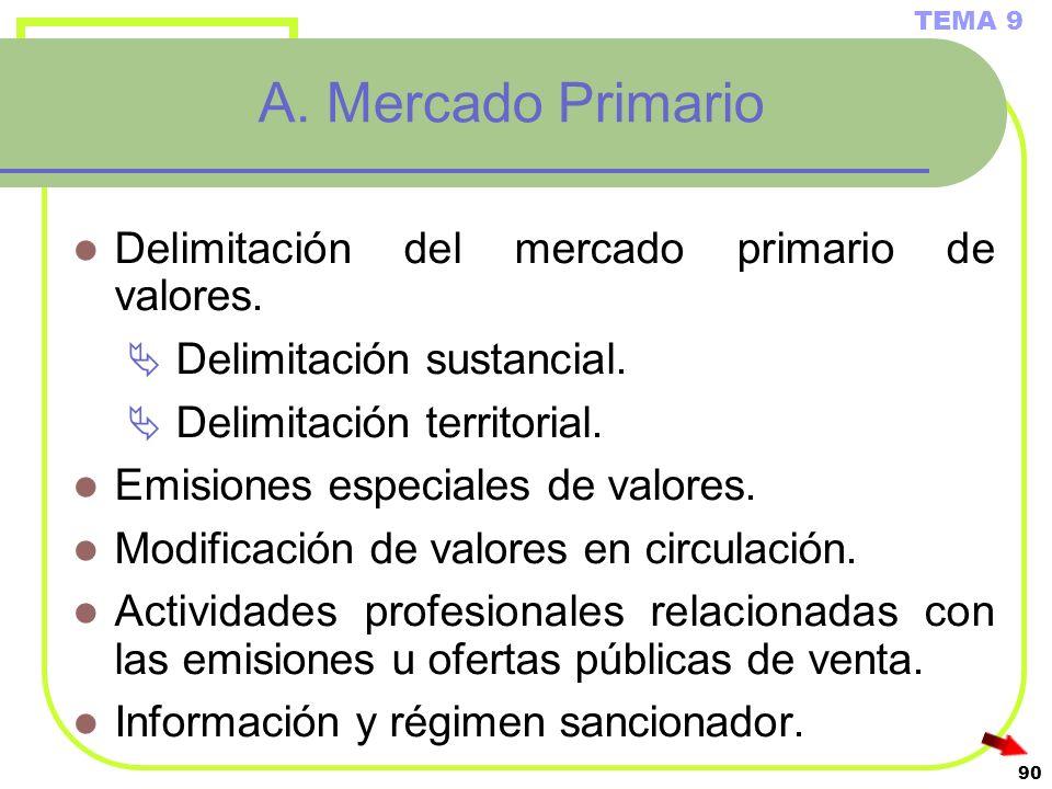 90 A. Mercado Primario Delimitación del mercado primario de valores. Delimitación sustancial. Delimitación territorial. Emisiones especiales de valore