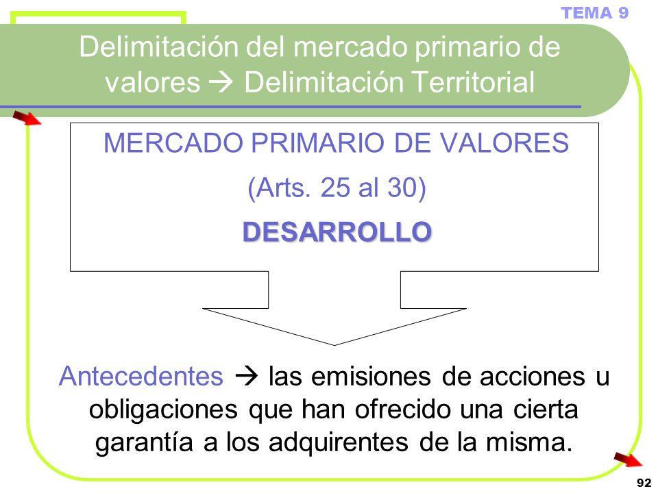 92 Delimitación del mercado primario de valores Delimitación Territorial MERCADO PRIMARIO DE VALORES (Arts. 25 al 30)DESARROLLO TEMA 9 Antecedentes la