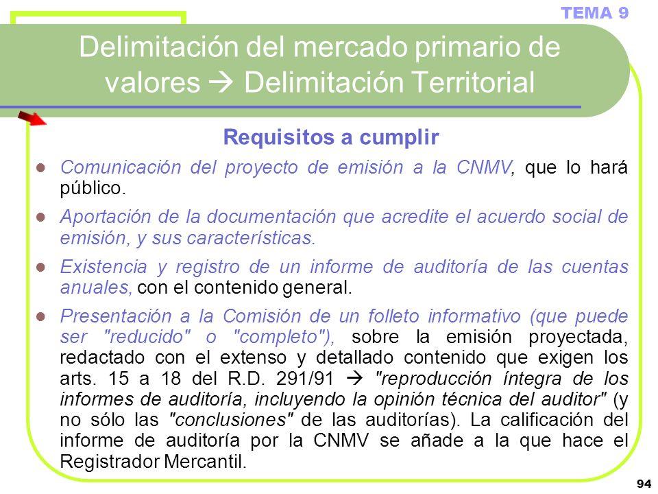 94 Delimitación del mercado primario de valores Delimitación Territorial TEMA 9 Requisitos a cumplir Comunicación del proyecto de emisión a la CNMV, q