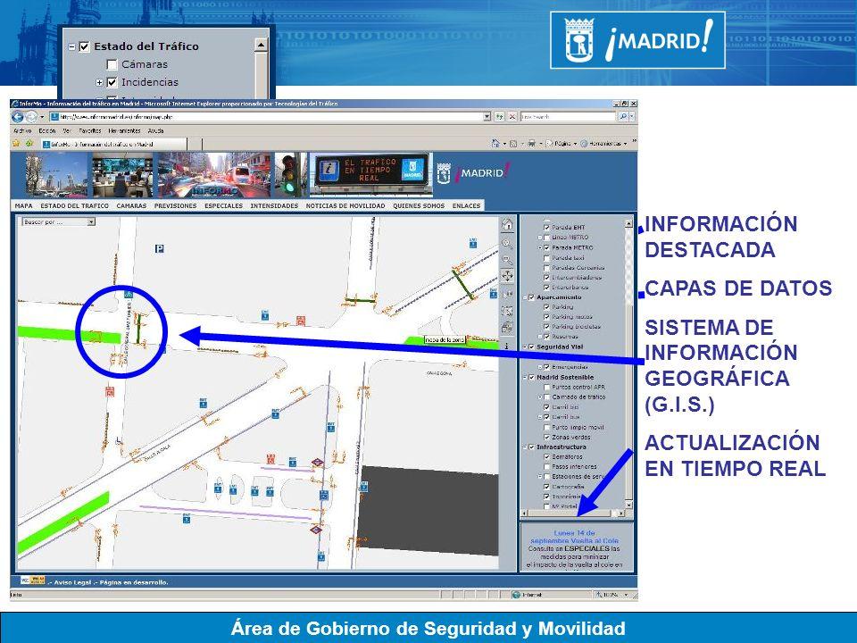 Área de Gobierno de Seguridad y Movilidad INFORMACIÓN DESTACADA CAPAS DE DATOS SISTEMA DE INFORMACIÓN GEOGRÁFICA (G.I.S.) ACTUALIZACIÓN EN TIEMPO REAL