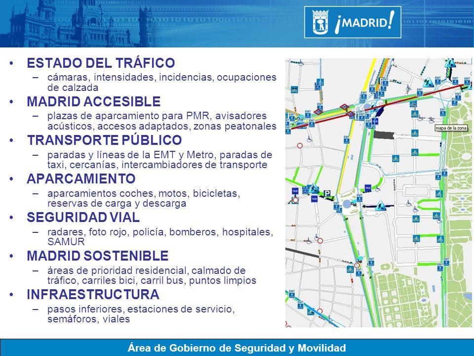 Área de Gobierno de Seguridad y Movilidad ESTADO DEL TRÁFICO –cámaras, intensidades, incidencias, ocupaciones de calzada MADRID ACCESIBLE –plazas de a