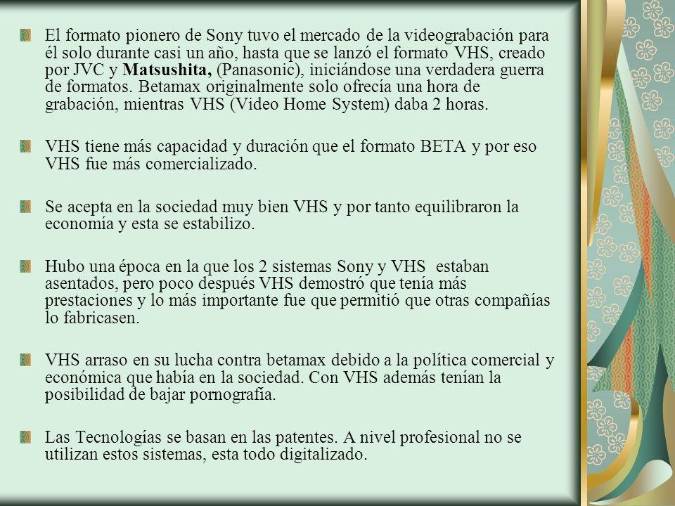 El formato pionero de Sony tuvo el mercado de la videograbación para él solo durante casi un año, hasta que se lanzó el formato VHS, creado por JVC y