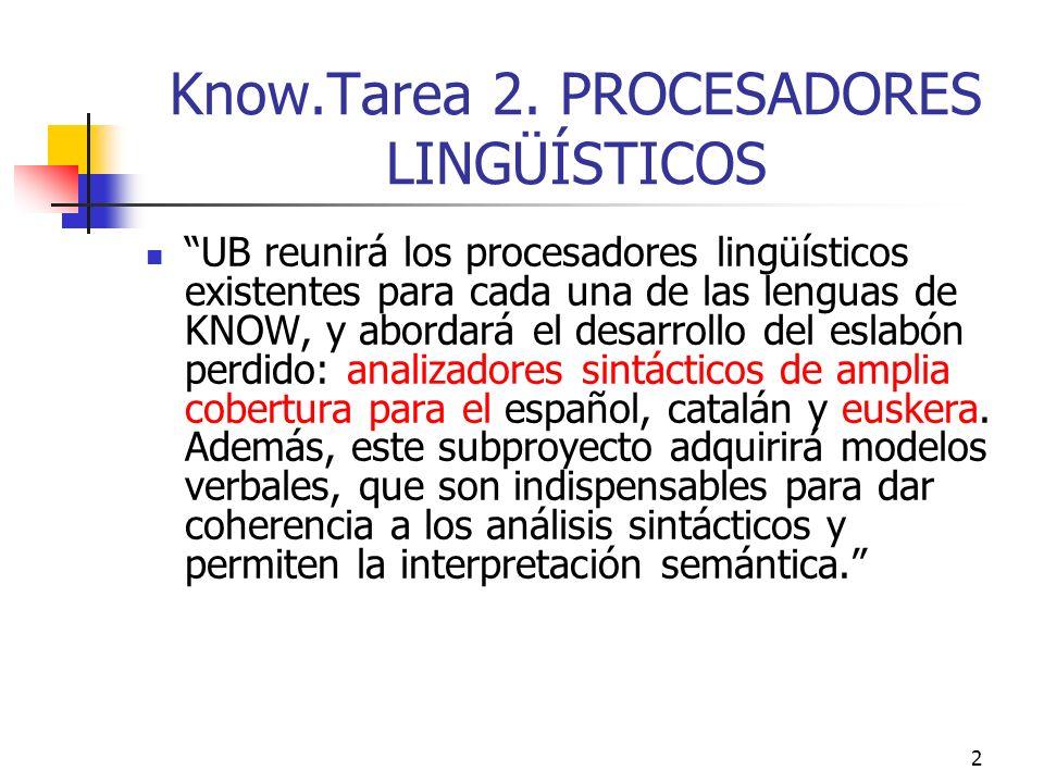 2 Know.Tarea 2. PROCESADORES LINGÜÍSTICOS UB reunirá los procesadores lingüísticos existentes para cada una de las lenguas de KNOW, y abordará el desa