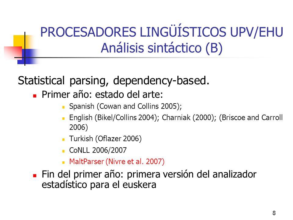 8 PROCESADORES LINGÜÍSTICOS UPV/EHU Análisis sintáctico (B) Statistical parsing, dependency-based. Primer año: estado del arte: Spanish (Cowan and Col