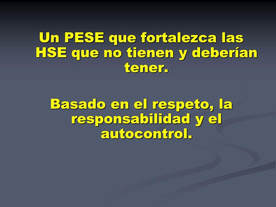 Un PESE que fortalezca las HSE que no tienen y deberían tener. Basado en el respeto, la responsabilidad y el autocontrol.
