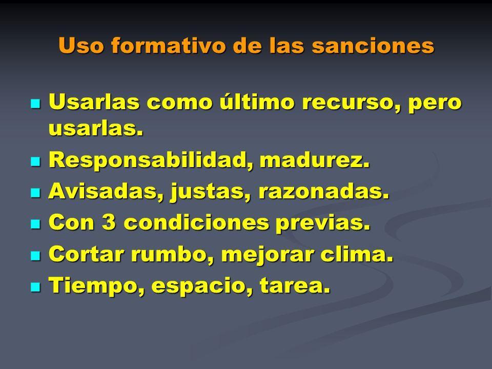 Uso formativo de las sanciones Usarlas como último recurso, pero usarlas. Usarlas como último recurso, pero usarlas. Responsabilidad, madurez. Respons