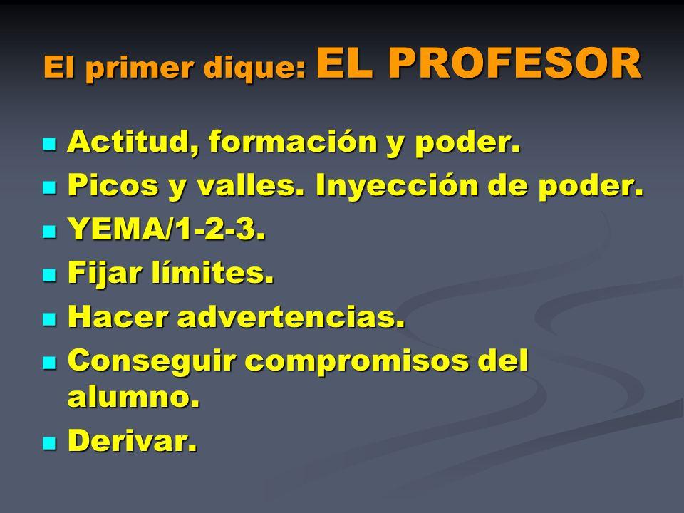 El primer dique: EL PROFESOR Actitud, formación y poder. Actitud, formación y poder. Picos y valles. Inyección de poder. Picos y valles. Inyección de