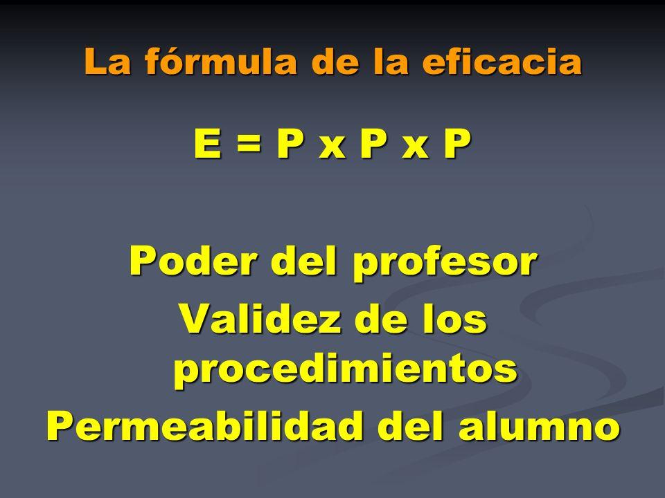 La fórmula de la eficacia E = P x P x P Poder del profesor Validez de los procedimientos Permeabilidad del alumno