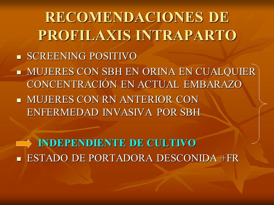 RECOMENDACIONES DE PROFILAXIS INTRAPARTO SCREENING POSITIVO SCREENING POSITIVO MUJERES CON SBH EN ORINA EN CUALQUIER CONCENTRACIÓN EN ACTUAL EMBARAZO