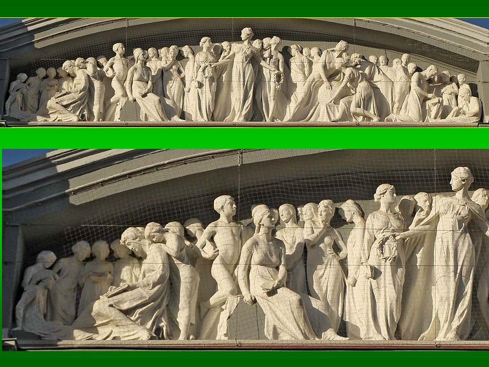 Altorrelieves neoclásicos en un friso con 41 estilizadas figuras. Zona central: esbelta alegoría femenina con coronas de laurel en las manos, rodeada