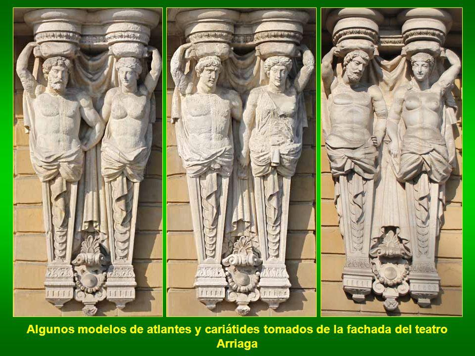 Algunos modelos de atlantes y cariátides tomados de la fachada del teatro Arriaga