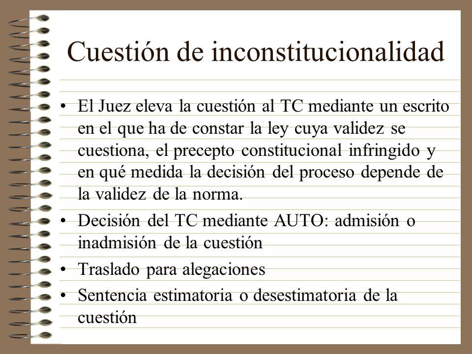 Cuestión de inconstitucionalidad El Juez eleva la cuestión al TC mediante un escrito en el que ha de constar la ley cuya validez se cuestiona, el prec