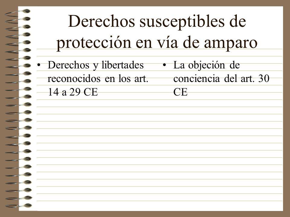 Derechos susceptibles de protección en vía de amparo Derechos y libertades reconocidos en los art. 14 a 29 CE La objeción de conciencia del art. 30 CE