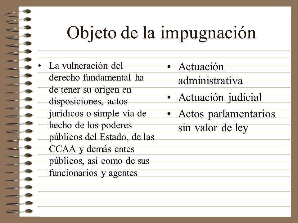 Objeto de la impugnación La vulneración del derecho fundamental ha de tener su origen en disposiciones, actos jurídicos o simple vía de hecho de los p