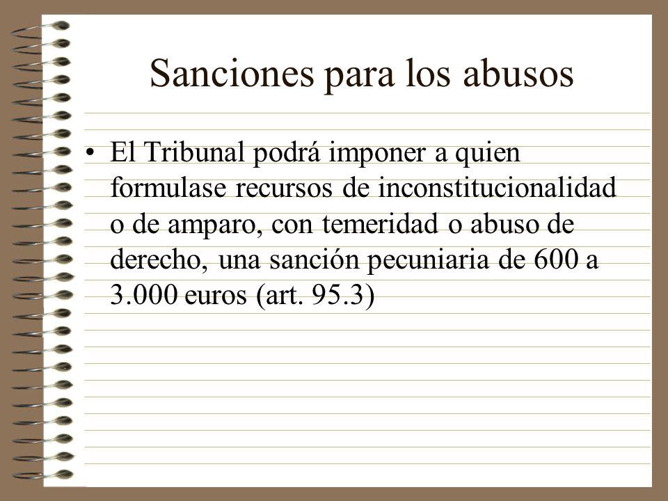 Sanciones para los abusos El Tribunal podrá imponer a quien formulase recursos de inconstitucionalidad o de amparo, con temeridad o abuso de derecho,