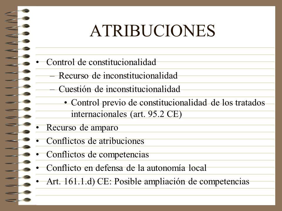 ATRIBUCIONES Control de constitucionalidad –Recurso de inconstitucionalidad –Cuestión de inconstitucionalidad Control previo de constitucionalidad de