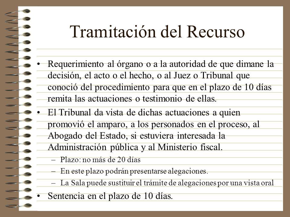 Tramitación del Recurso Requerimiento al órgano o a la autoridad de que dimane la decisión, el acto o el hecho, o al Juez o Tribunal que conoció del p