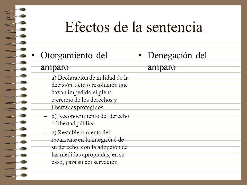 Efectos de la sentencia Otorgamiento del amparo –a) Declaración de nulidad de la decisión, acto o resolución que hayan impedido el pleno ejercicio de
