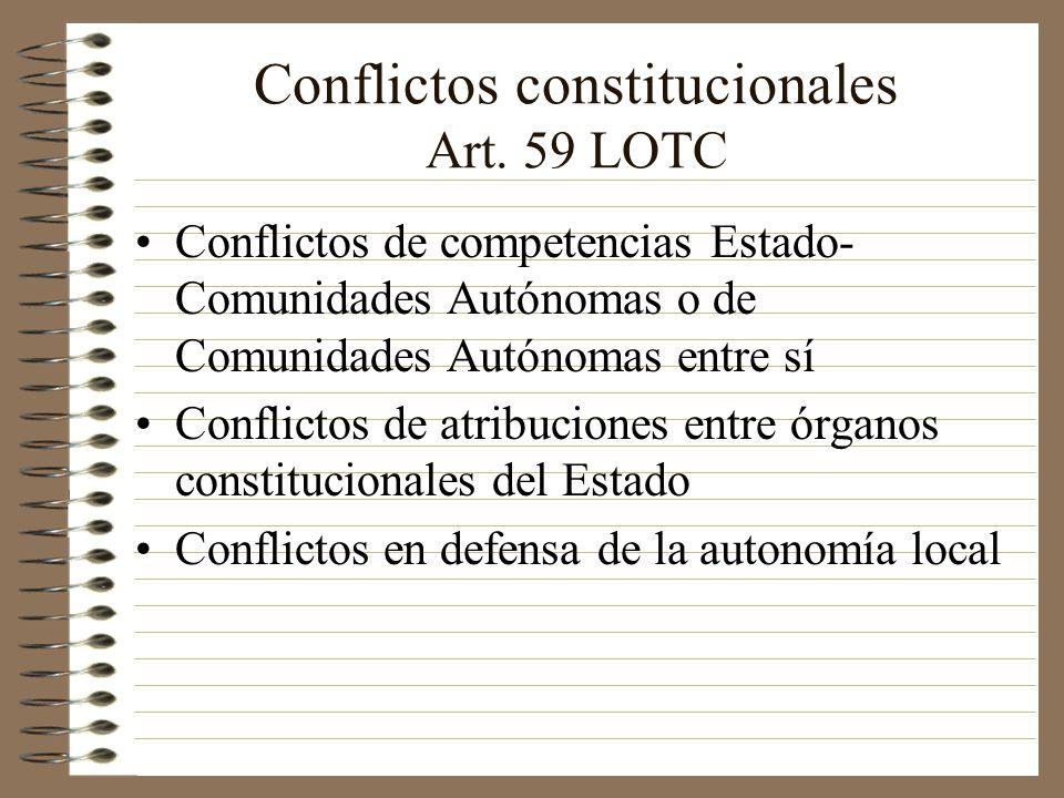 Conflictos constitucionales Art. 59 LOTC Conflictos de competencias Estado- Comunidades Autónomas o de Comunidades Autónomas entre sí Conflictos de at