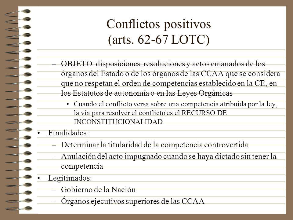 Conflictos positivos (arts. 62-67 LOTC) –OBJETO: disposiciones, resoluciones y actos emanados de los órganos del Estado o de los órganos de las CCAA q