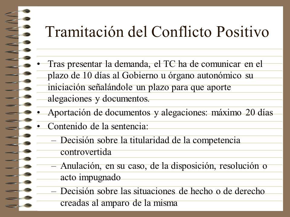 Tramitación del Conflicto Positivo Tras presentar la demanda, el TC ha de comunicar en el plazo de 10 días al Gobierno u órgano autonómico su iniciaci