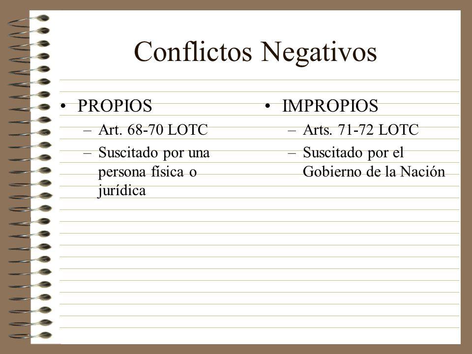 Conflictos Negativos PROPIOS –Art. 68-70 LOTC –Suscitado por una persona física o jurídica IMPROPIOS –Arts. 71-72 LOTC –Suscitado por el Gobierno de l