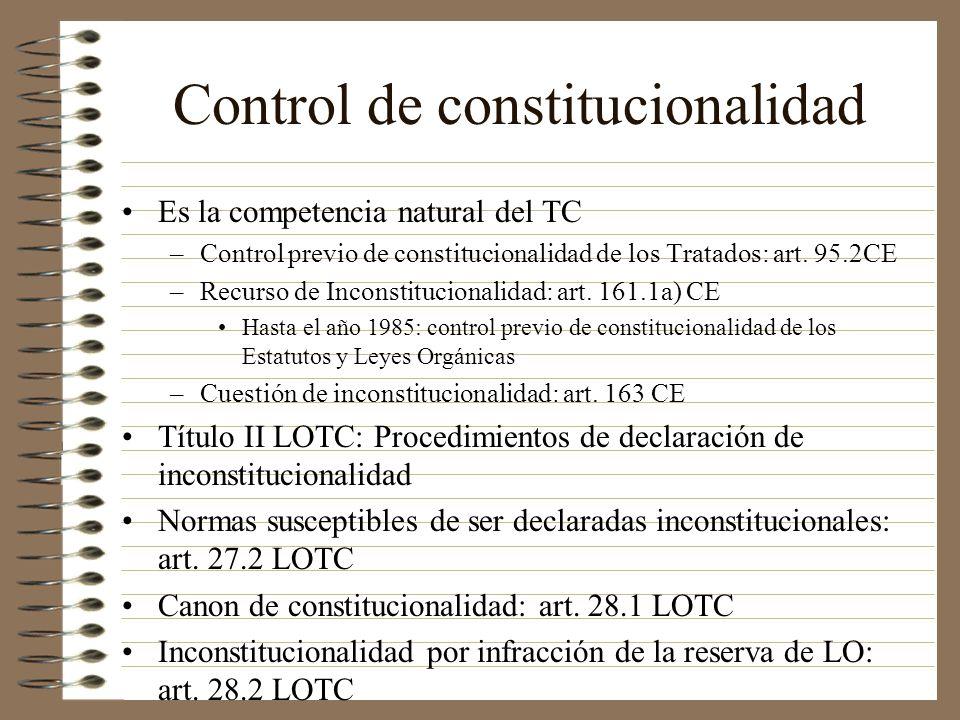 Control de constitucionalidad Es la competencia natural del TC –Control previo de constitucionalidad de los Tratados: art. 95.2CE –Recurso de Inconsti