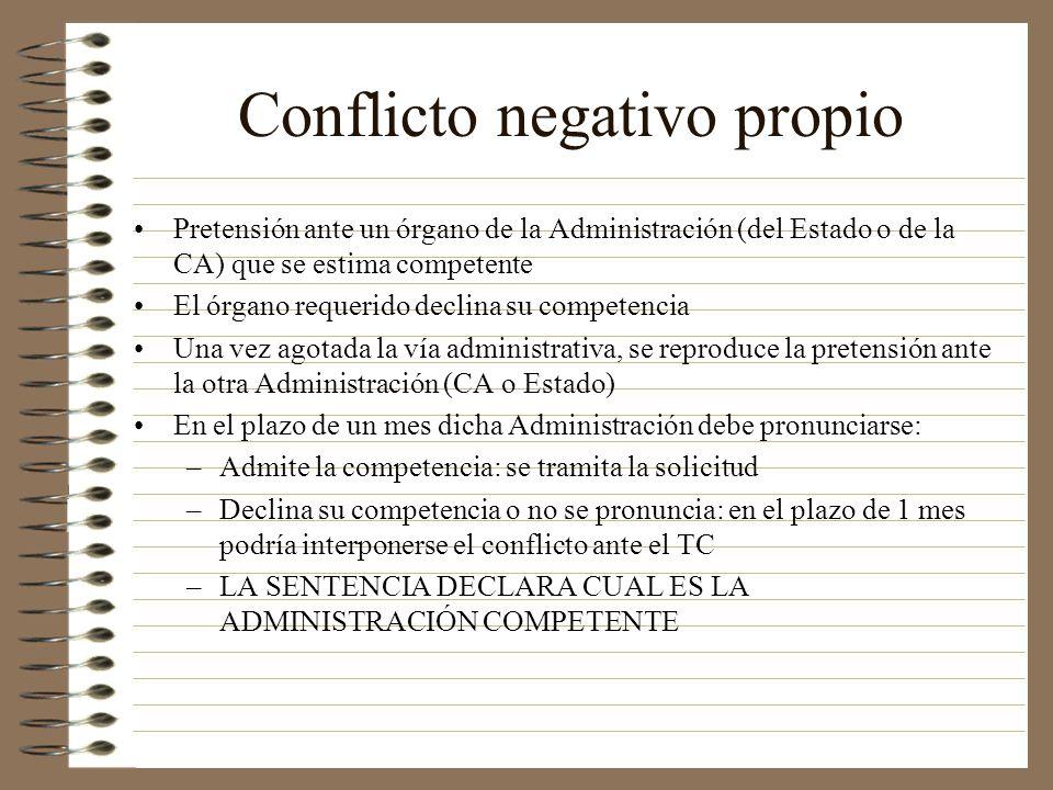 Conflicto negativo propio Pretensión ante un órgano de la Administración (del Estado o de la CA) que se estima competente El órgano requerido declina
