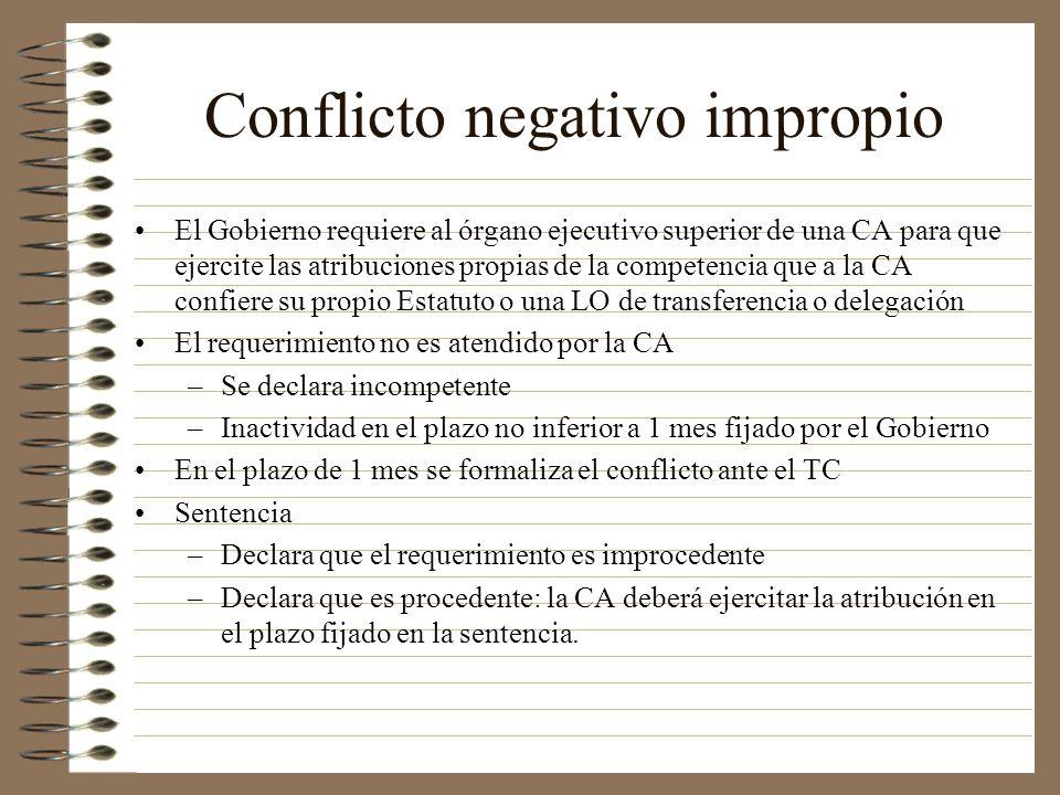 Conflicto negativo impropio El Gobierno requiere al órgano ejecutivo superior de una CA para que ejercite las atribuciones propias de la competencia q