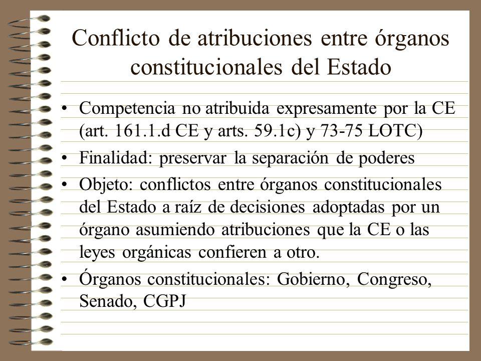 Conflicto de atribuciones entre órganos constitucionales del Estado Competencia no atribuida expresamente por la CE (art. 161.1.d CE y arts. 59.1c) y