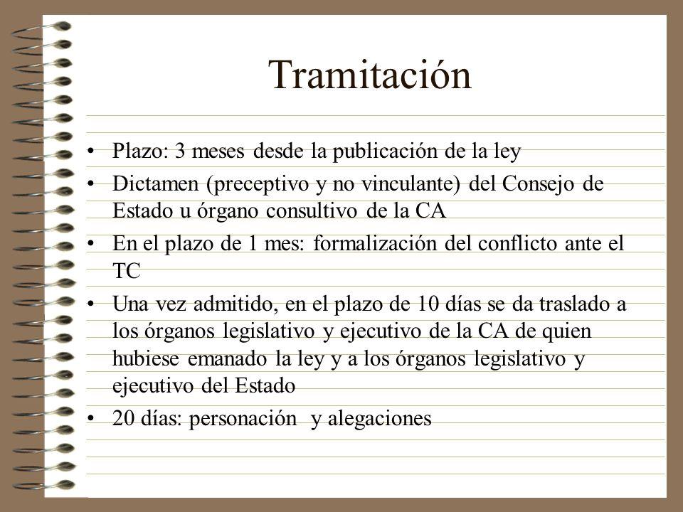 Tramitación Plazo: 3 meses desde la publicación de la ley Dictamen (preceptivo y no vinculante) del Consejo de Estado u órgano consultivo de la CA En