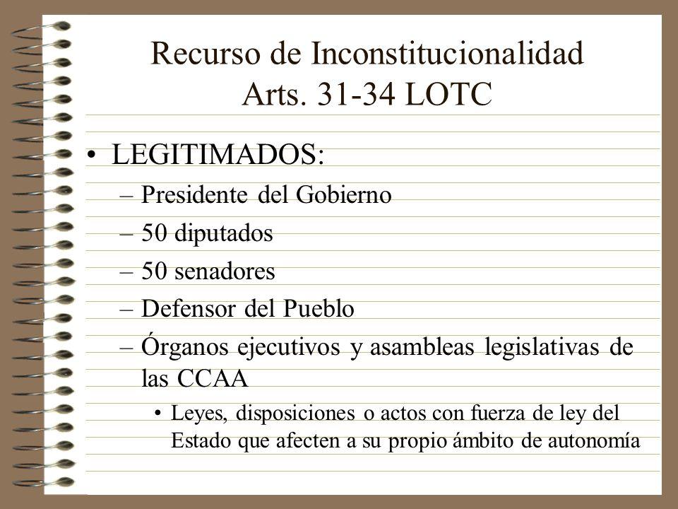 Recurso de Inconstitucionalidad Arts. 31-34 LOTC LEGITIMADOS: –Presidente del Gobierno –50 diputados –50 senadores –Defensor del Pueblo –Órganos ejecu