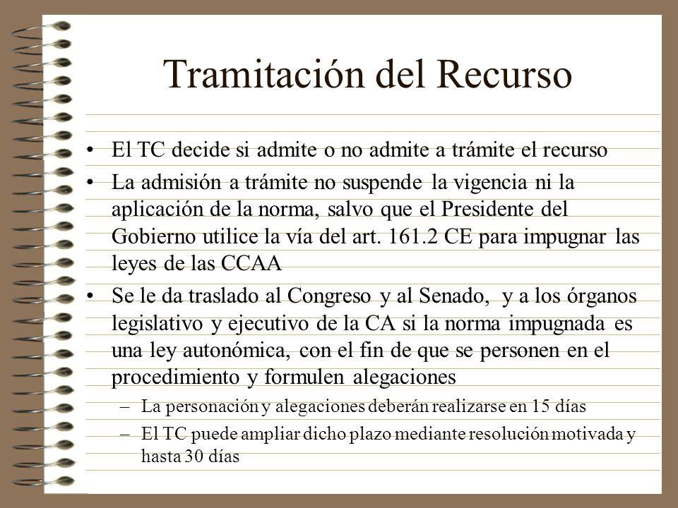 Tramitación del Recurso El TC decide si admite o no admite a trámite el recurso La admisión a trámite no suspende la vigencia ni la aplicación de la n