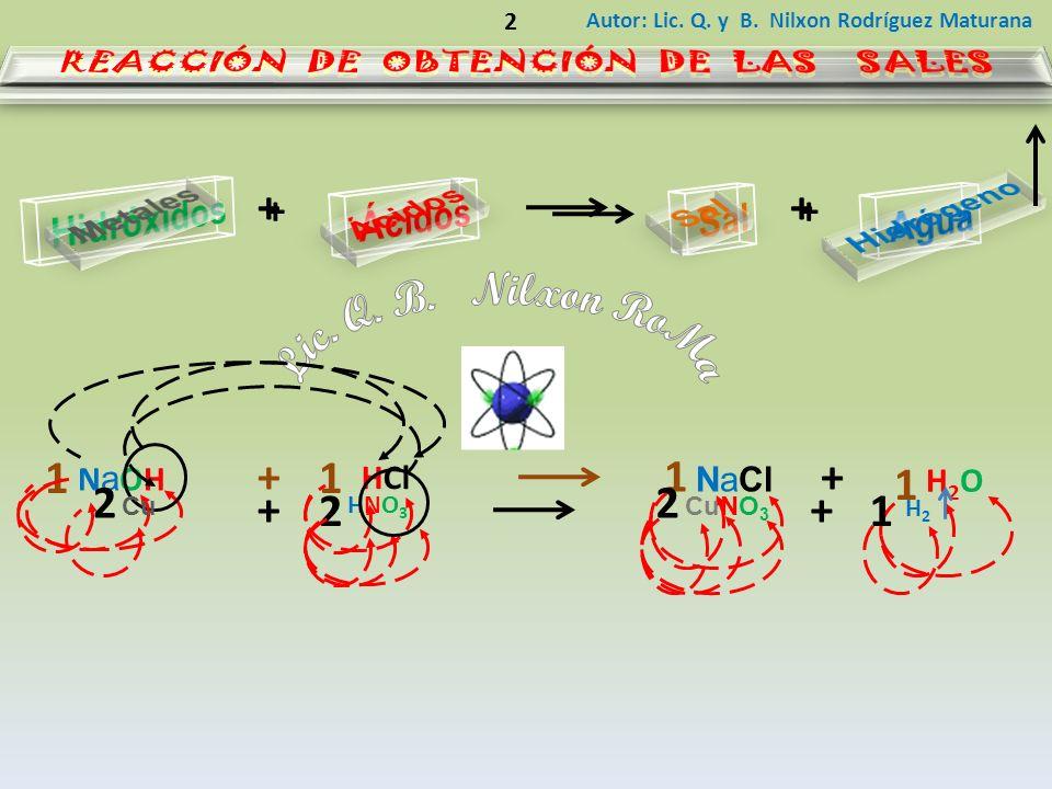 Autor: Lic. Q. y B. Nilxon Rodríguez Maturana 2 ++ HCl NaOHNaOH NaCl H2OH2O ++ 1 1 1 1 ++ HNO3HNO3 CuCuNO 3 H2H2 ++ 2 22 1