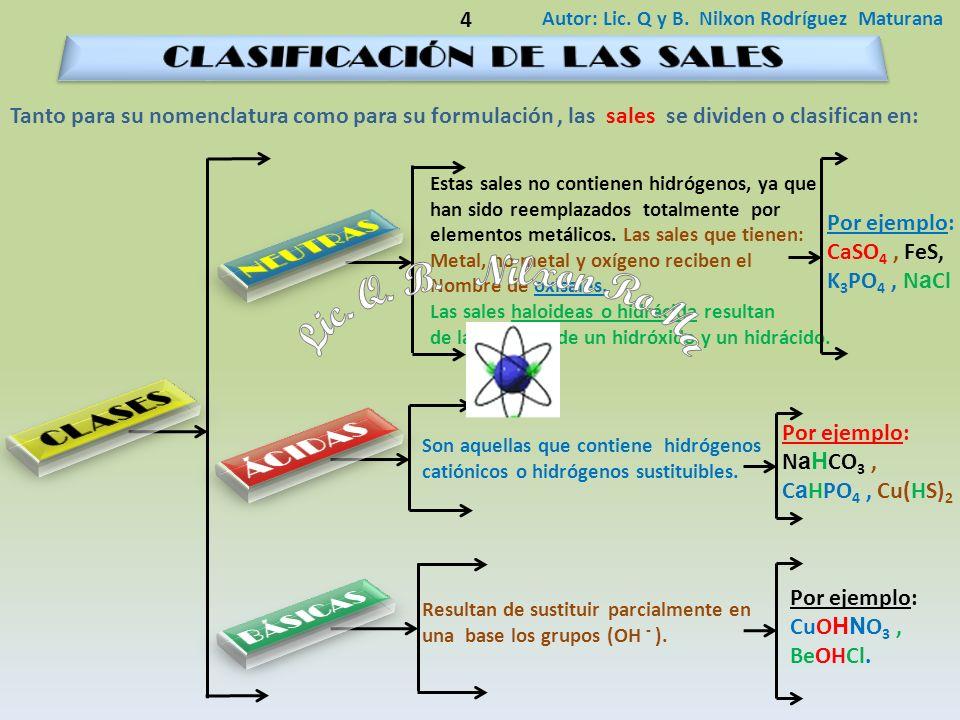 Autor: Lic. Q y B. Nilxon Rodríguez Maturana 4 Estas sales no contienen hidrógenos, ya que han sido reemplazados totalmente por elementos metálicos. L