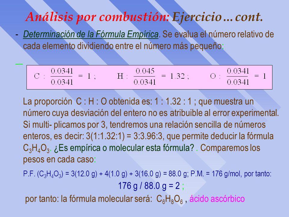 Análisis por combustión: Ejercicio…cont. El compuesto sólo tiene C, H y O, y hemos calculado la cantidad de C e H, por tanto, la cantidad de O deberá