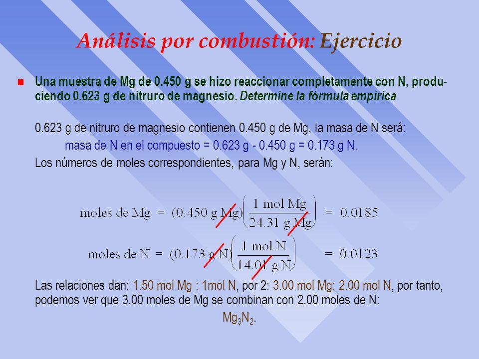 Análisis por combustión: Ejercicio…cont. - Determinación de la Fórmula Empírica. Se evalua el número relativo de cada elemento dividiendo entre el núm