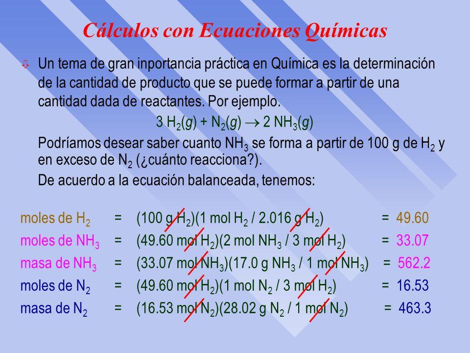 Análisis por combustión: Ejercicio…cont. ò La fórmula empírica de un óxido metálico es M 2 O 3. Se quema en oxígeno una muestra de 3.058 g del metal M