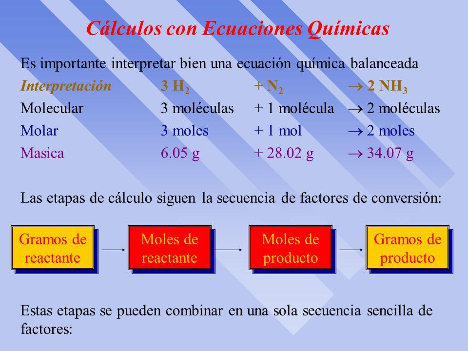 Cálculos con Ecuaciones Químicas ò Un tema de gran inportancia práctica en Química es la determinación de la cantidad de producto que se puede formar
