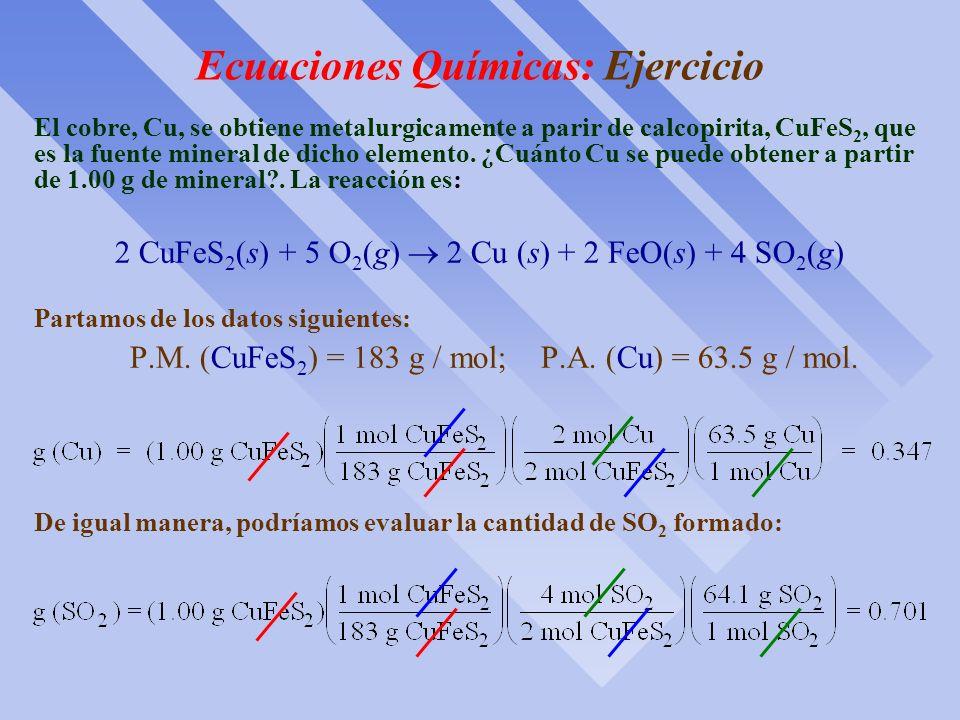 Cálculos con Ecuaciones Químicas Es importante interpretar bien una ecuación química balanceada Interpretación3 H 2 + N 2 2 NH 3 Molecular3 moléculas