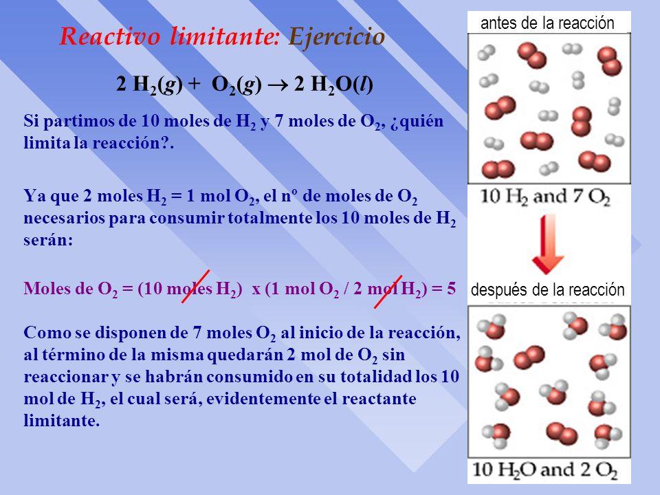 Reactivo Limitante: Concepto ò Como hemos mencionado en los últimos problemas, hay casos en los cuales la reacción química se lleva a cabo con la pres