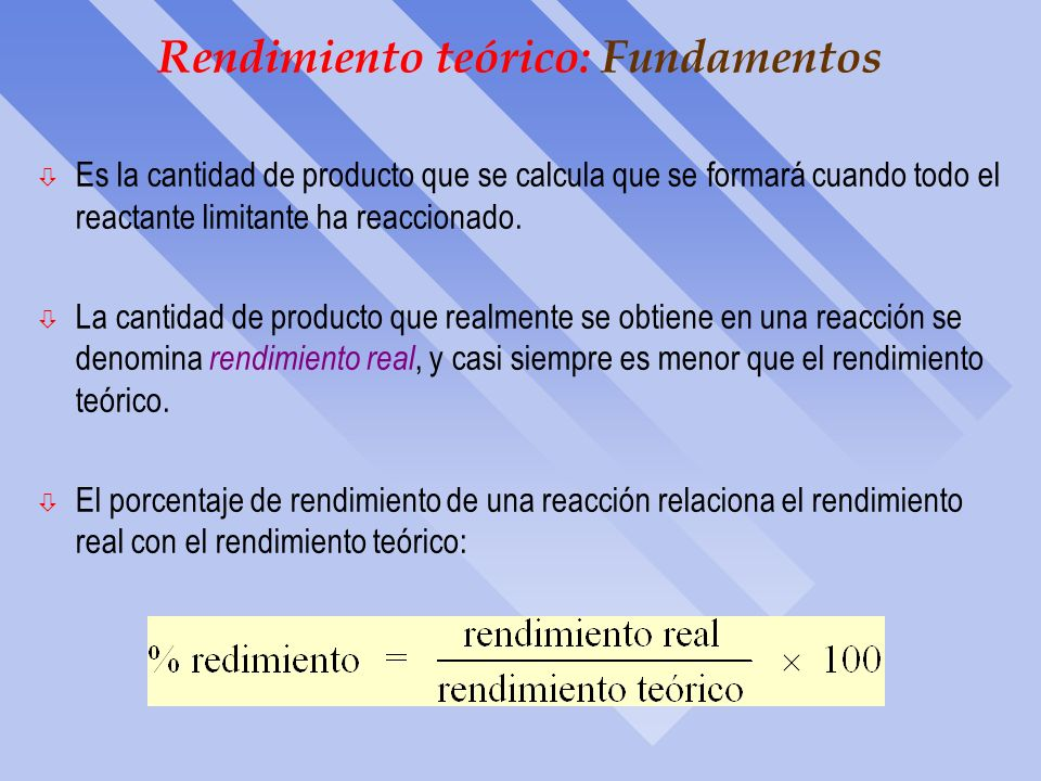Reactivo Limitante: 2a Opción Otro método de enfocar el problema, es calcular la cantidad de pro- ducto que se podría formar a partir de cada una de l