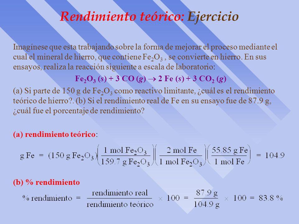 Rendimiento teórico: Fundamentos ò Es la cantidad de producto que se calcula que se formará cuando todo el reactante limitante ha reaccionado. ò La ca
