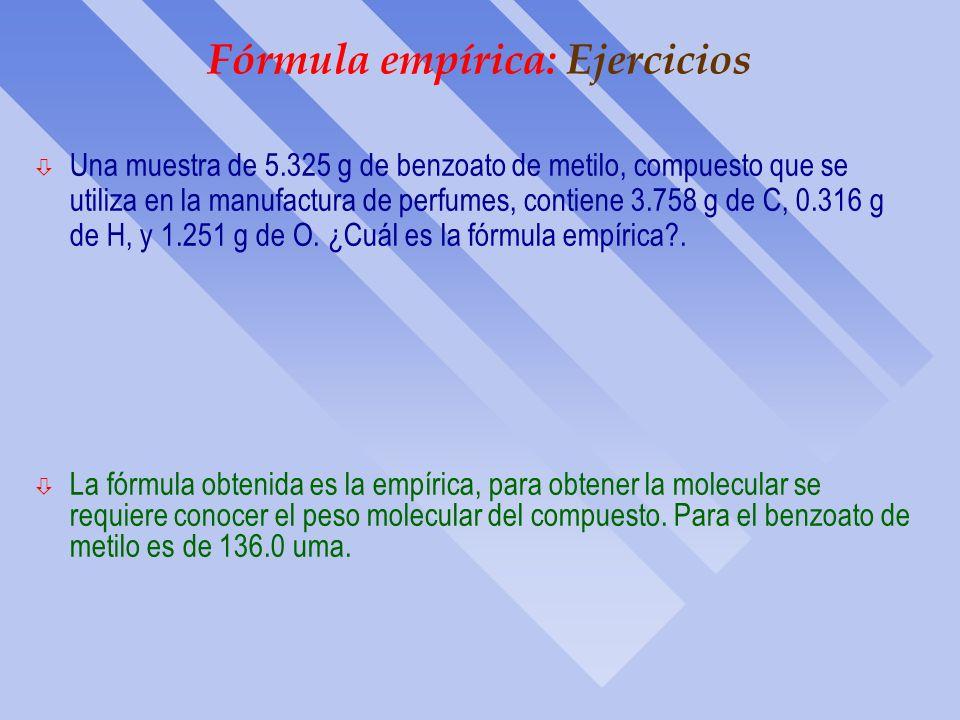 Estequiometría : Fórmula empírica Diagrama de Procedimiento para Calcular Fórmulas Empíricas % en masa de los elemento Fórmula empírica Gramos de cada
